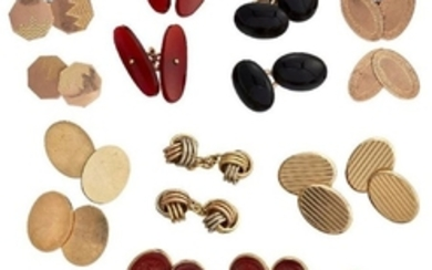 A collection of cufflinks, including: four pairs...