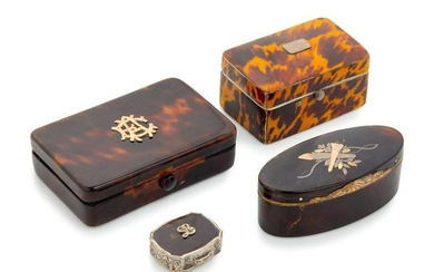 A Collection of Four Tortoise Shell Veneered Snuf