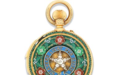 LeRoy Et Fils, Paris. A fine gold, enamel and diamond set minute repeating perpetual calendar chronograph pocket watch with barometer and thermometer