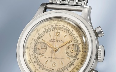 "Longines, Ref. 4974 A very attractive and large stainless-steel chronograph wristwatch with ""sandwich"" dial and steel bracelet"