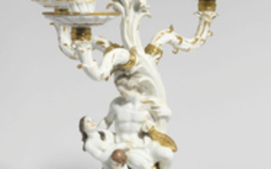 A MEISSEN PORCELAIN ARMORIAL FOUR-LIGHT CANDELABRUM FROM THE SWAN SERVICE, CIRCA 1739-40