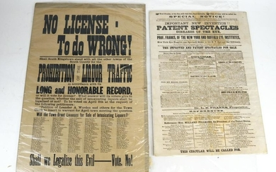 Two Broadsides: Spectacles and Prohibition