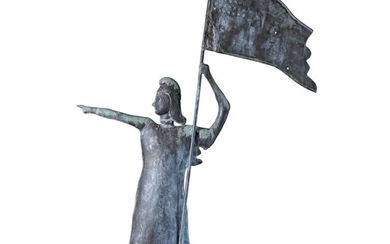 VERY FINE AND RARE MOLDED FULL-BODIED SHEET COPPER AND ZINC GODDESS OF LIBERTY WEATHERVANE, NORTHEASTERN UNITED STATES, CIRCA 1915