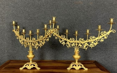 Pair of very large candelabra gilded bronze (72cm) - Gothic Style - Bronze (gilt) - Late 19th century