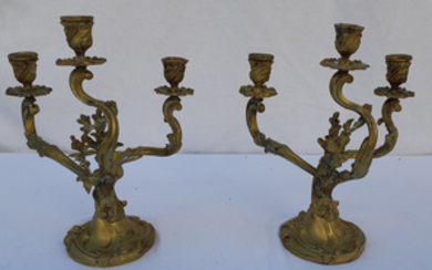 PAIR OF ART NOVEAU FRENCH GILT BRONZE CANDELABRA