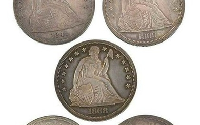 Five Seated Liberty Dollars