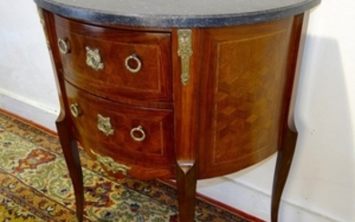 PETITE DEMILUNE INLAID MARBLE TOP COMMODE