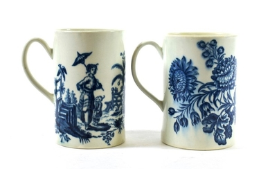 A Worcester Porcelain Cylindrical Mug, circa 1775, printed in underglaze...