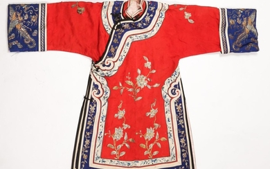 Chinese Embroidered Red Silk Ladies Coat, 20th Century A5WAT