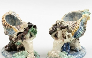 Pair of Staffordshire Pearlware Shell Form Salts