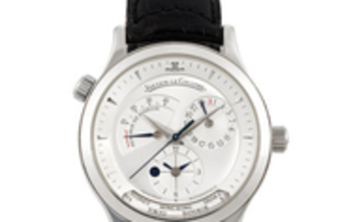 Jaeger-LeCoultre. A Stainless Steel World Time Wristwatch with date, power reserve, day/night indication and second time zone