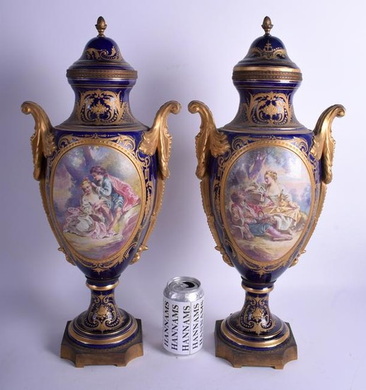 A LARGE PAIR OF 19TH CENTURY FRENCH SEVRES PORCELAIN