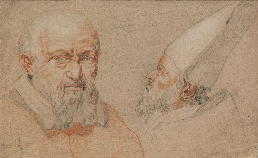 ITALIAN SCHOOL, 17TH CENTURY Portrait Studies of a Bishop.