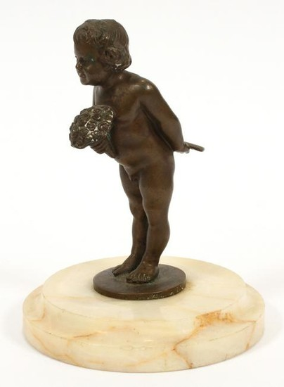 MINIATURE BRONZE SCULPTURE, CHILD WITH FLOWERS