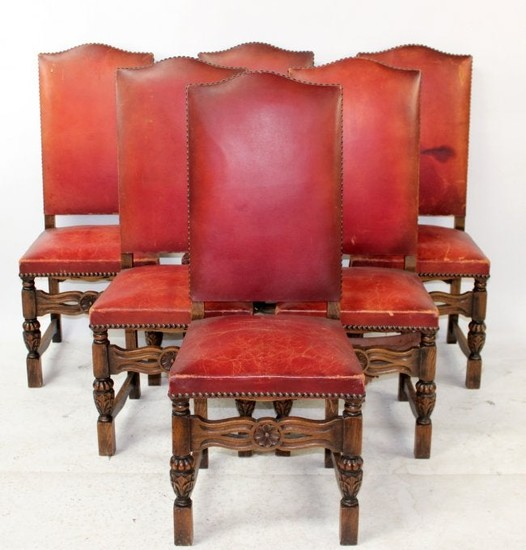 Set of 6 French Renaissance dining chairs