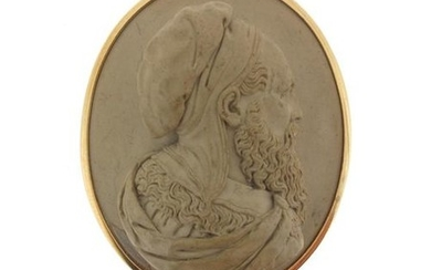 A Victorian carved lava cameo, depicting Leonardo Da...