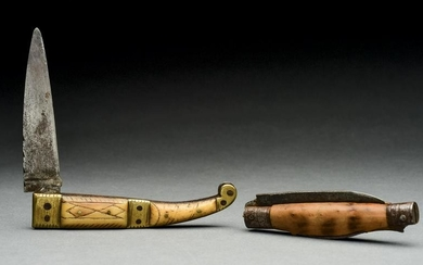 LOT OF 2: 18TH CENTURY KNIVES, ONE WITH FOLDING FORK.