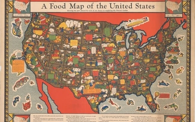"""A Food Map of the United States Showing the Part Played by Each of Our States in Supplying the Nation's Larder"""