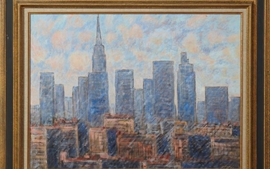 "American School, ""New York Skyline,"" 20th c., oil on"