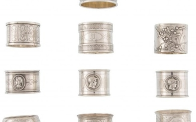 21026: A Group of Thirteen Silver and Silver-Plated Nap