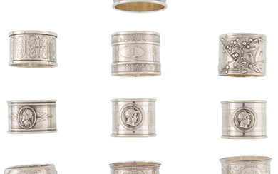 Thirteen Silver and Silver-Plated Napkin Rings of Various Makers (late 18th-early )