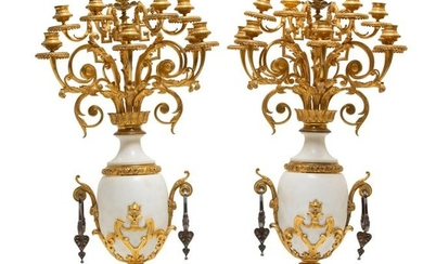 Pair Neoclassical style bronze & marble candelabra