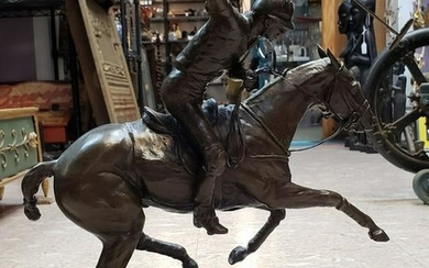 1992 Eric Kaposta Horse Polo Player Bronze Sculpture on
