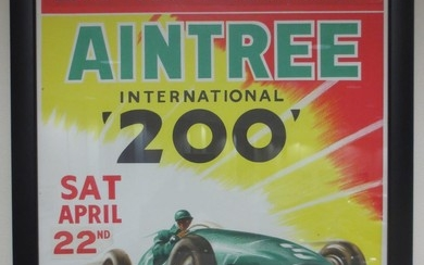 Four Aintree car racing poster flyers,