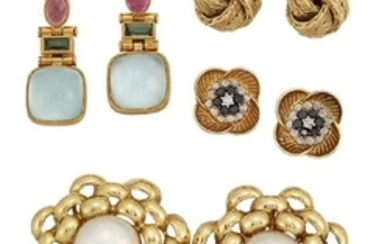 Four pairs of earrings, comprising: a pair...