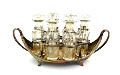 A George III Silver Six Bottle Cruet, Maker's Mark IT,...