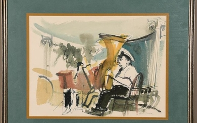 Helen Frank Watercolor on Paper Tuba Player