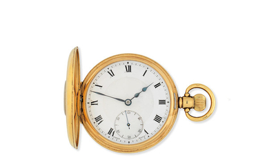 Pluto. An 18K gold keyless wind half hunter pocket watch