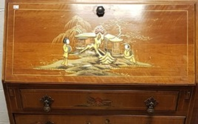 A 20th century Chinoiserie style lacquered bureau, with fig...
