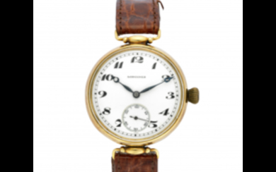 LONGINES Gent's 18K gold wristwatch 1920s Dial, movement and...
