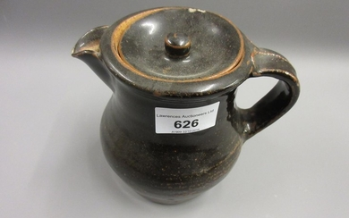 Bernard Leach, stoneware hot water pot and cover of plain ba...