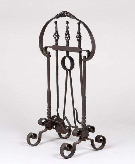 Lot Art Arts Crafts Hand Forged Iron Fireplace Tools C1920