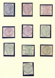 GREAT BRITAIN STAMPS : 1883-84 Lilac & Green issues to 1/-, ...