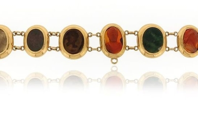 A hardstone intaglio bracelet, the intaglios possibly 18th...
