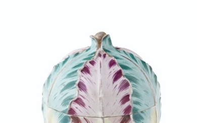 A JACOB PETIT PORCELAIN CABBAGE FORM TUREEN, COVER AND STAND, MID-19TH CENTURY, BLUE JP MONOGRAM MARK, IRON-RED 14