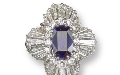 A sapphire and diamond ballerina cluster ring, cen…