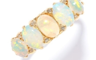 ANTIQUE OPAL AND DIAMOND RING in 18ct yellow gold, set