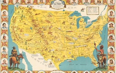 """Danny Arnold's Pictorial Map of the Old West Showing Pioneer Trails and Battles, Indian's Territories, Stagecoach Lines, Military Forts, Historical Data of the Frontier Period Around 1840"""