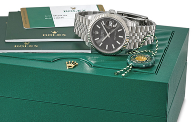 ROLEX. AN 18K WHITE GOLD AND STAINLESS STEEL AUTOMATIC WRISTWATCH WITH SWEEP CENTRE SECONDS, DATE, BRACELET, ORIGINAL GUARANTEE AND BOX, SIGNED ROLEX, OYSTER PERPETUAL, DATEJUST, DATEJUST 41 MODEL, REF. 126334, CASE NO. 68QG7791, CIRCA 2019