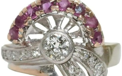 Vintage 14K White and Rose Gold Diamond and Ruby Ring