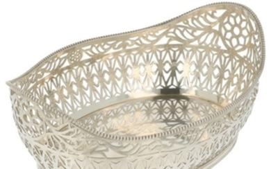 Puffs basket oval with openwork side with soldered pearl edge silver.