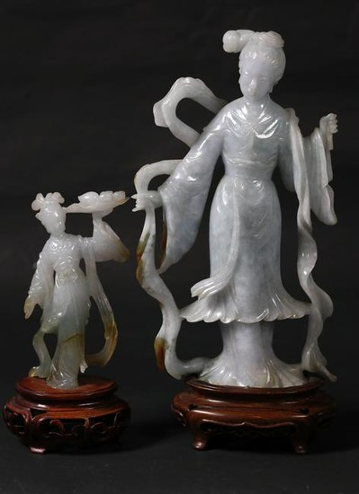 2 Chinese Carved Jadeite Beautiful Lady Figures