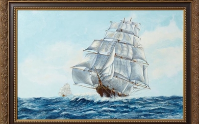 "Marchmont, ""Ships in Full Sail,"" 20th c., oil on"