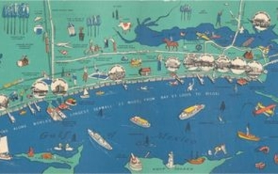 "NO RESERVE, ""Pictorial Map of the Mississippi Gulf Coast the Year-Around Resort"""