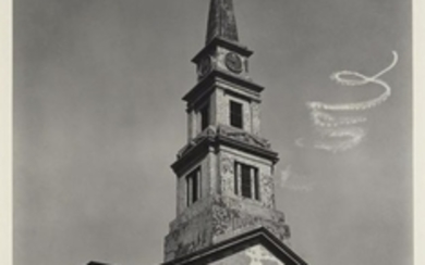 ABBOTT, BERENICE (1898-1991) [Sky-writing spiral over St. Marks Church], New York City