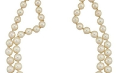 A cultured pearl necklace with diamond and...